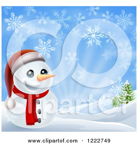 Clipart of a Cheerful Snowman in a Hilly Landscape with Snowflakes - Royalty Free Vector Illustration by AtStockIllustration