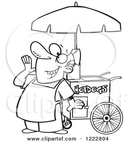 Clipart of a Black and White Happy Shouting Hot Dog Vendor Man - Royalty Free Vector Illustration by toonaday