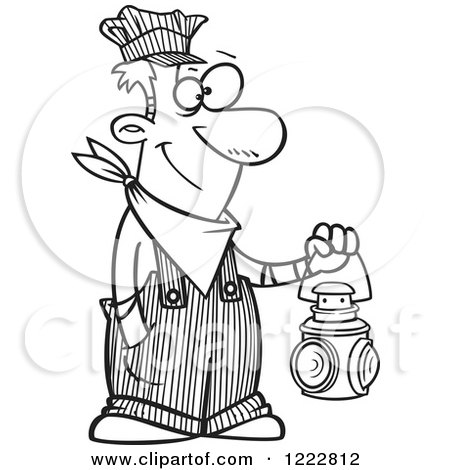 Clipart of a Black and White Happy Train Engineer Man Holding a Lantern - Royalty Free Vector Illustration by toonaday