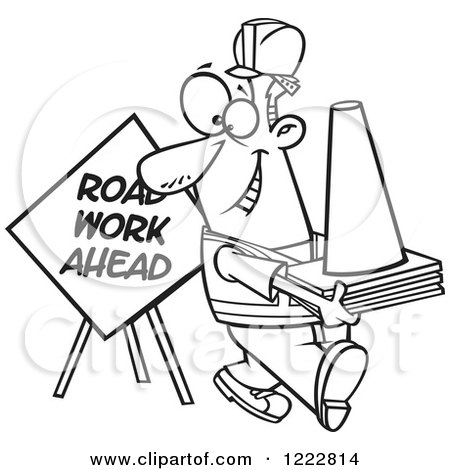 Clipart of a Black and White Happy Construction Worker with Road Cones and a Sign - Royalty Free Vector Illustration by toonaday