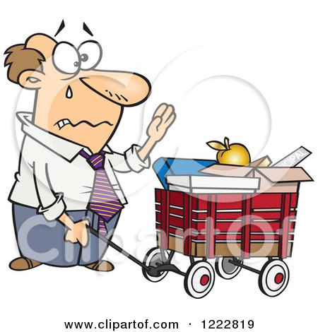 Clipart of a Retiring Caucasian Businessman with All of His Belongings in a Wagon - Royalty Free Vector Illustration by toonaday