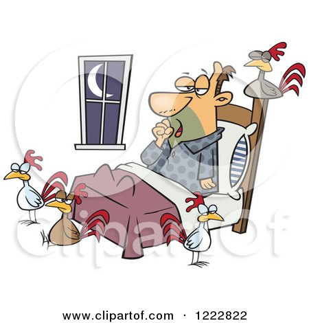 Clipart of a Tired Man with Chickens Around His Bed - Royalty Free Vector Illustration by toonaday