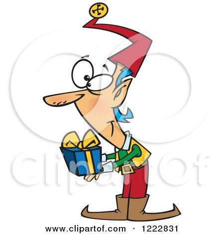 Clipart of a Christmas Elf Holding out a Gift - Royalty Free Vector Illustration by toonaday