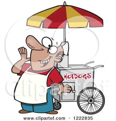 Clipart of a Happy Shouting Hot Dog Vendor Man - Royalty Free Vector Illustration by toonaday