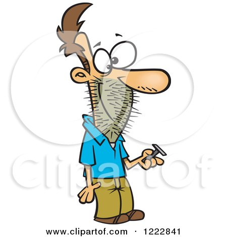 Clipart of a Caucasian Man Holding a Razor, with Stubble on His Face - Royalty Free Vector Illustration by toonaday