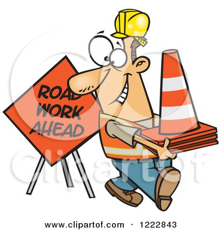 Clipart of a Happy Caucasian Construction Worker with Road Cones and a Sign - Royalty Free Vector Illustration by toonaday