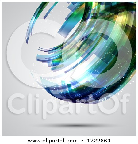 Clipart of a Floating Abstract Sphere over Gray - Royalty Free Vector Illustration by KJ Pargeter