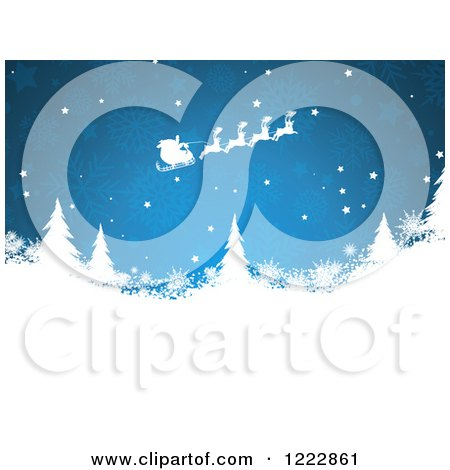 Clipart of Santas Sleigh Flying over Evergreen Trees and Snowflakes on Blue - Royalty Free Vector Illustration by KJ Pargeter