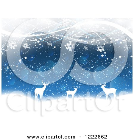 Clipart of Silhouetted Deer with Snowflakes Bokeh and Waves - Royalty Free Vector Illustration by KJ Pargeter