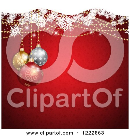 Clipart of a Christmas Background of Baubles and Snowflakes over Red Stars and Snowflakes - Royalty Free Vector Illustration by KJ Pargeter