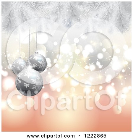 Clipart of a Christmas Background of Silver Baubles and Fir Branches over Bokeh - Royalty Free Vector Illustration by KJ Pargeter
