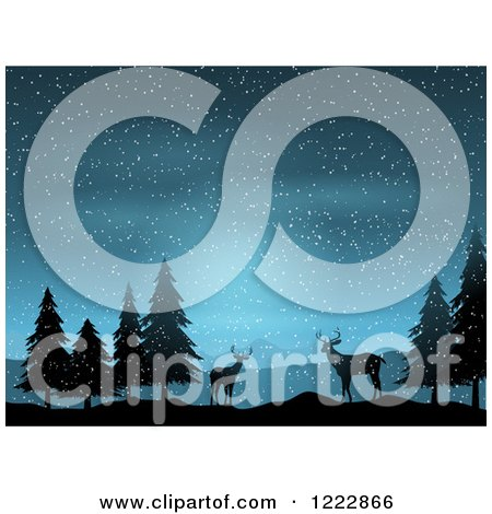 Clipart of Silhouetted Deer and Trees in the Snow at Night - Royalty Free Vector Illustration by KJ Pargeter