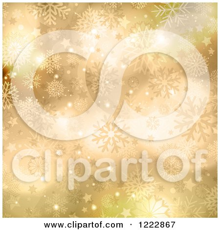 Clipart of a Golden Stars Snowflakes and Flares Christmas Background - Royalty Free Vector Illustration by KJ Pargeter