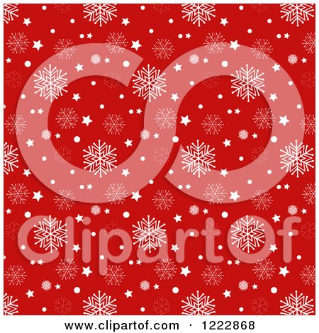 Clipart of a White and Red Christmas Star and Snowflake Background - Royalty Free Vector Illustration by KJ Pargeter