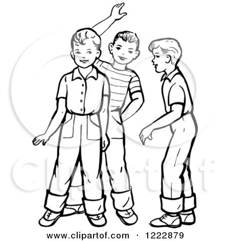 Clipart of Retro Boys Talking and Waving in Black and White - Royalty Free Vector Illustration by Picsburg