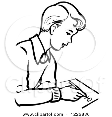 Clipart of a Retro Boy Writing in Black and White ...