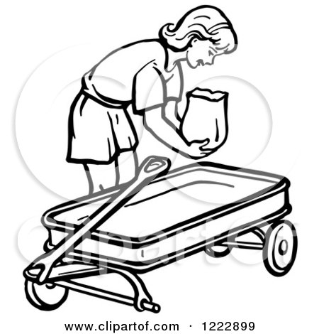 Clipart of a Retro Girl Putting a Bag in a Wagon in Black and White - Royalty Free Vector Illustration by Picsburg