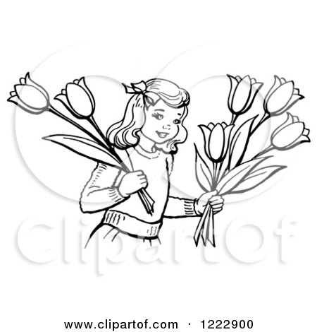 Retro Girl Holding Tulip Flowers in Black and White Posters, Art Prints