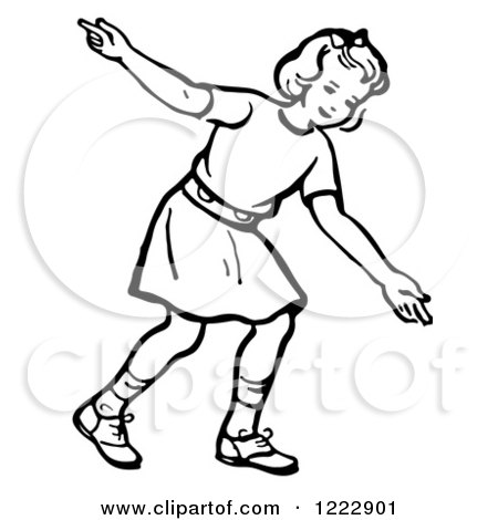 Clipart of a Retro Girl After Releasing a Bowling Ball in Black and White - Royalty Free Vector Illustration by Picsburg