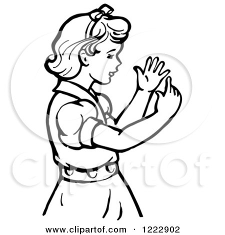 Clipart of a Retro Girl Counting Her Fingers in Black and White - Royalty Free Vector Illustration by Picsburg