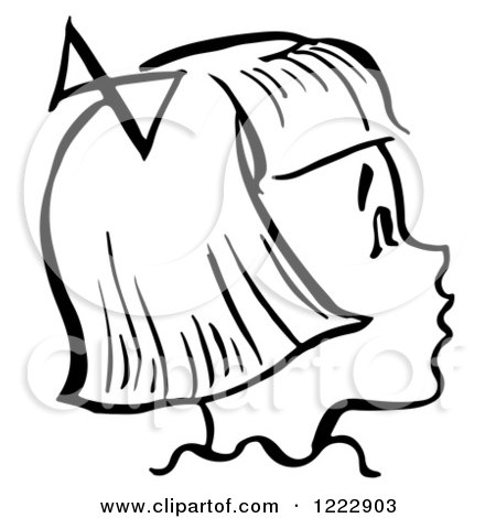 Clipart of a Happy Retro Girl in Profile in Black and White - Royalty Free Vector Illustration by Picsburg