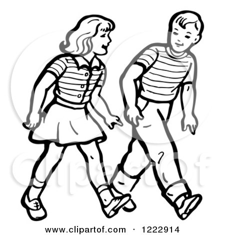 Clipart of a Retro Boy and Girl Walking in Black and White - Royalty Free Vector Illustration by Picsburg