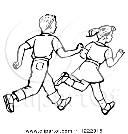 Clipart of a Retro Boy and Girl Running in Black and White - Royalty Free Vector Illustration by Picsburg