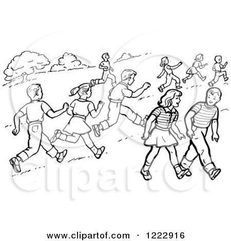 Clipart of Retro Boys and Girls Running and Walking in a Park in Black and White - Royalty Free Vector Illustration by Picsburg