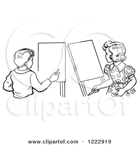 Clipart of a Retro Boy and Girl with Art Easels in Black and White - Royalty Free Vector Illustration by Picsburg