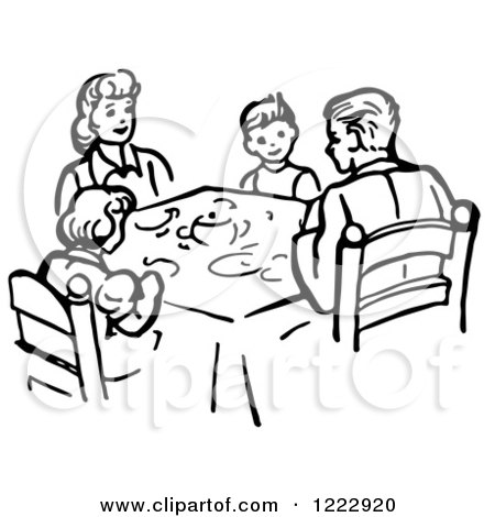 Clipart of a Family Eating Supper at a Table in Black and White - Royalty Free Vector Illustration by Picsburg