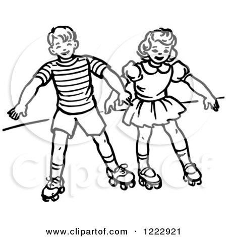 Clipart of a Retro Boy and Girl Roller Skating in Black and White - Royalty Free Vector Illustration by Picsburg