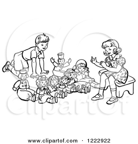 Clipart of a Retro Boy and Girl Playing with Dolls in Black and White - Royalty Free Vector Illustration by Picsburg