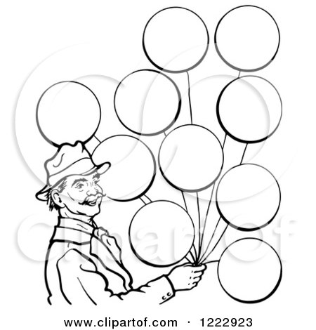 Clipart of a Circus Man with Balloons in Black and White - Royalty Free Vector Illustration by Picsburg