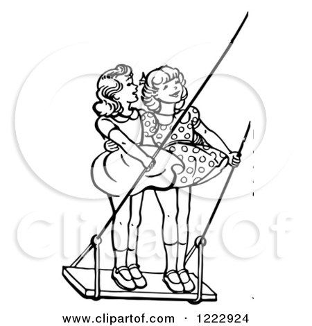 Clipart of Retro Girls Standing on a Swing in Black and White - Royalty Free Vector Illustration by Picsburg