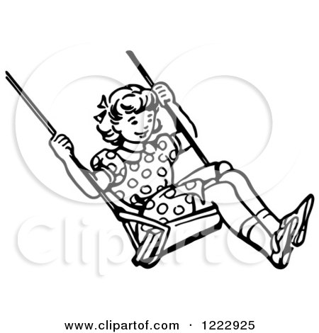 Clipart of a Retro Girl Swinging in Black and White - Royalty Free Vector Illustration by Picsburg