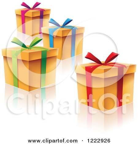 Clipart of Scattered Gift Boxes with Ribbons Bows and Reflections - Royalty Free Vector Illustration by cidepix