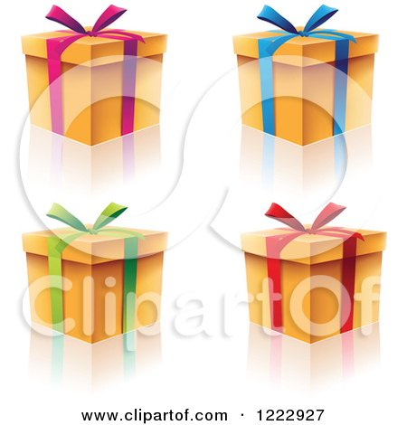Clipart of Four Gift Boxes with Ribbons Bows and Reflections - Royalty Free Vector Illustration by cidepix