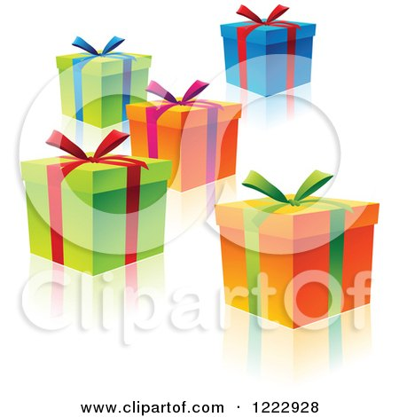 Clipart of Colorful Gift Boxes with Ribbons Bows and Reflections - Royalty Free Vector Illustration by cidepix