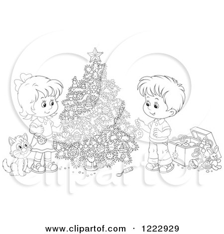 Clipart of an Outlined Cat Watching Children Decorating a Christmas Tree - Royalty Free Vector Illustration by Alex Bannykh