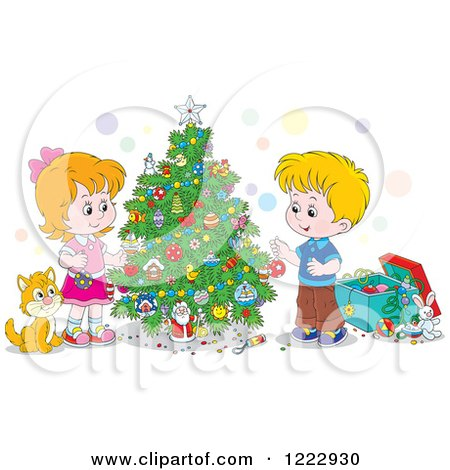 Clipart of a Cat Watching Children Decorating a Christmas Tree - Royalty Free Vector Illustration by Alex Bannykh