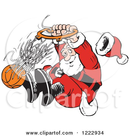 Clipart of Santa Slam Dunking a Basketball - Royalty Free Vector Illustration by Johnny Sajem