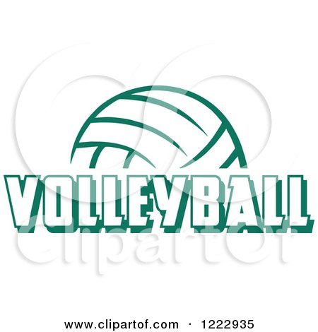 Clipart of a Green Ball with VOLLEYBALL Text - Royalty Free Vector Illustration by Johnny Sajem