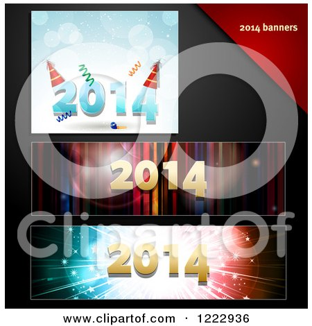 Clipart of New Year 2014 Party Banners and Letterheads - Royalty Free Vector Illustration by elaineitalia