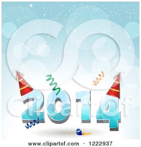 Clipart of New Year 2014 with Party Hats and Confetti over Blue Flares - Royalty Free Vector Illustration by elaineitalia