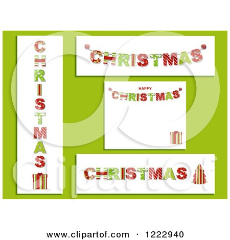 Clipart of Patterned Christmas Backgrounds Panels and Banners on Green - Royalty Free Vector Illustration by elaineitalia