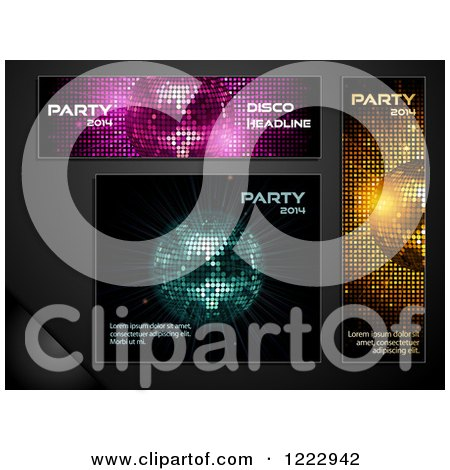 Clipart of Disco Ball Panels Banners and Backgrounds with New Year 2014 Sample Text - Royalty Free Vector Illustration by elaineitalia