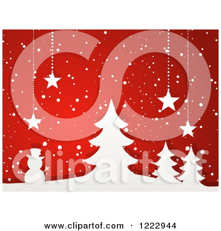 Clipart of White Paper Trees and Snowman with Suspended Christmas Stars and Snow on Red - Royalty Free Vector Illustration by elaineitalia