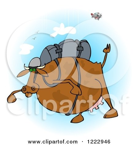 Clipart of a Fat Cow Skydiving - Royalty Free Illustration by djart