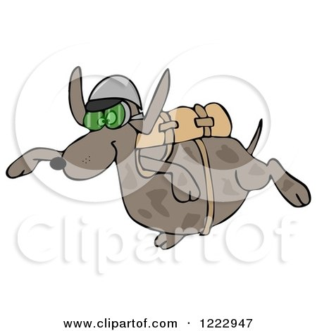 Clipart of a Dog Skydiving - Royalty Free Illustration by djart