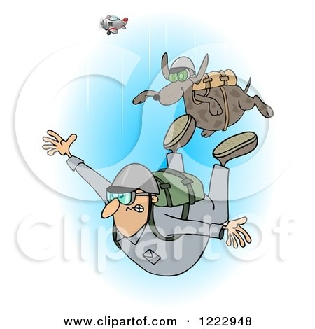 Clipart of a Man and Dog Skydiving with the Plane in the Background - Royalty Free Illustration by djart